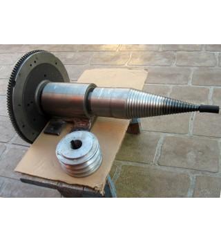 "System of Shaft Pulley + flywheel + 3"" SCREW TYPE LOG WOOD SPLITTER"