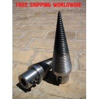 Wood log splitter screw cone diameter D=80mm length L=280mm hardened steel