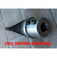 "Wood log splitter screw cone diameter D=90mm(3.5"") length L=265mm hardened steel right thread"
